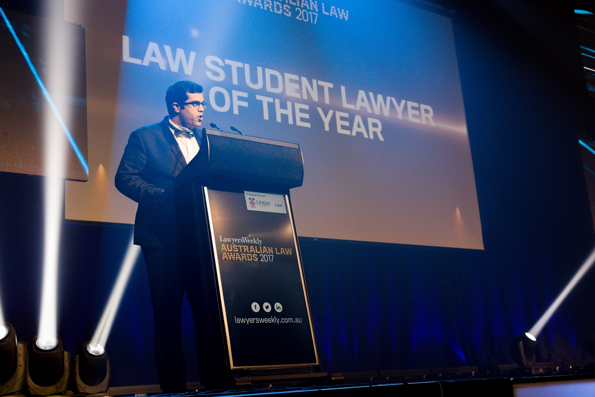 Milan Gandhi accepting his award for Law Student of the Year