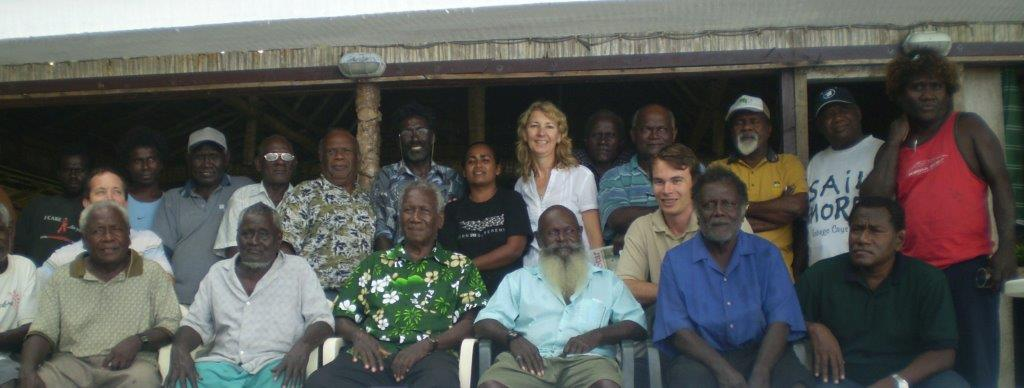 Professor Jennifer Corrin (middle) at a Traditional Leaders Workshop, Western Province, Solomon Islands (Funded by MacArthur Foundation)