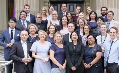 This is an image of some of the winners of the 2019 UQ Awards for Teaching and Learning Excellence