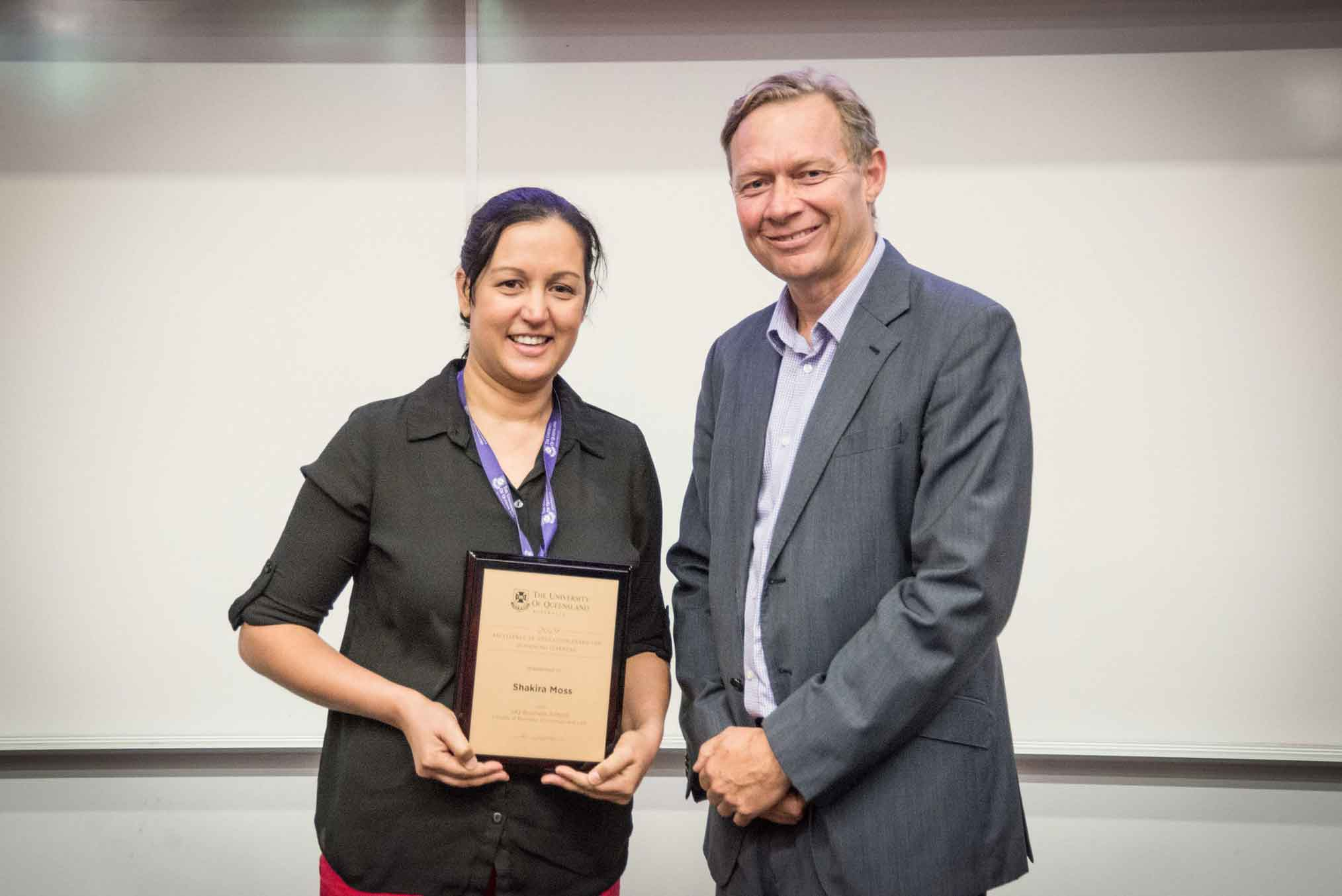 This is an image of award-winner Shakira Moss and Professor Andrew Griffiths