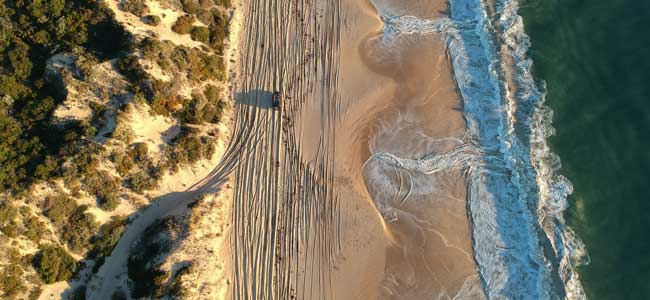 aerial of beach with 4wd drive tracks