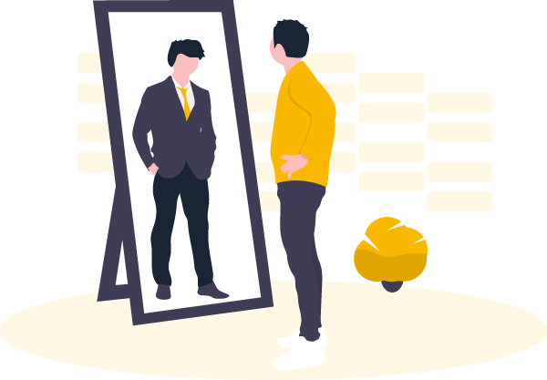 man in casual clothes looking at himself in mirror wearing a suit