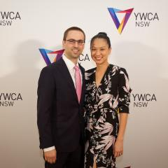 Alumna Lina Tchung and her husband Ryan Mason at the annual YWCA NSW Mother of All Nights event