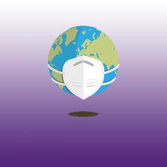 globe wearing a medical mask