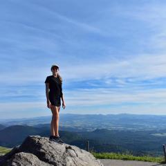 Madeleine hiking in France