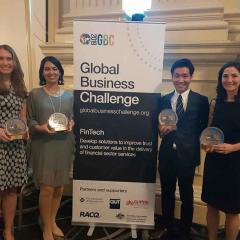 This is an image of the students who placed second in the Global Business Challenge