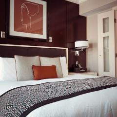 This is an image of a hotel room bed