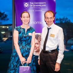 University medallist Elizabeth Baldwin with Head of School Professor Daniel Zizzo