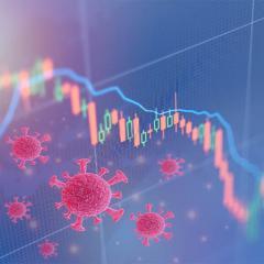 coronavirus superimposed over a digital graph