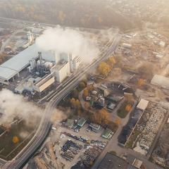 pollution being emitted by an industrial building