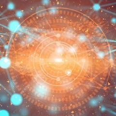 abstract blue network around gold manadala