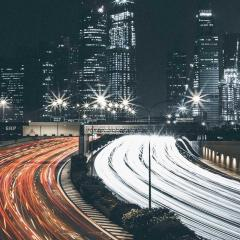 cityscape with traffic light trails