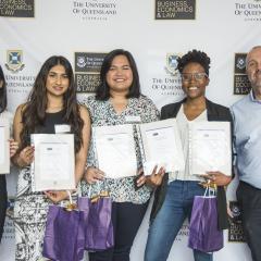 L-R: Joy Yang, Shy Nayar, Janina Manalo, Clarice Langa, Andrew Claridge (St Vincent de Paul Society Queensland)