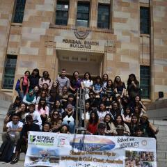 Republic Polytechnic students and staff during their UQ visit