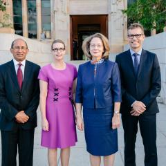 UQ Chancellor Peter Varghese AO, Professor Sarah Derrington (Dean of Law and Head of TC Beirne School of Law), The Hon Justice Susan Kiefel AC, UQ Vice-Chancellor and President Professor Peter Høj.