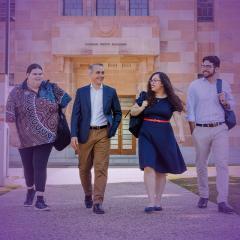 UQ Indigenous BEL students Matthew Jones, Madison Corino, Jackson Daylight and Juliet Biemann in the Great Court