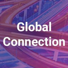 Twisting overpasses and roads, with a purple overlay and the Global Connection title.