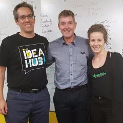 L-R: UQ Idea Hub Director Nimrod Klayman, Shark Tank judge Glen Richards, and Co-founder of Mountain Bikes Direct Jen Geale