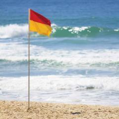 Surf lifesaving flags at the beach