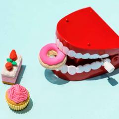 Dental model sitting next to desserts