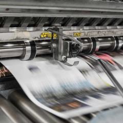 Printing press printing newspapers