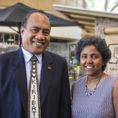 His Excellency Taneti Maamau with Associate Professor Renuka Mahadevan
